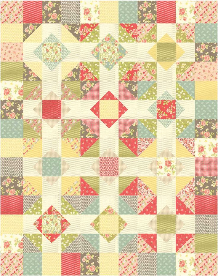 Patchwork Quilt Pattern Using Layer Cakes Or Fat Quarters