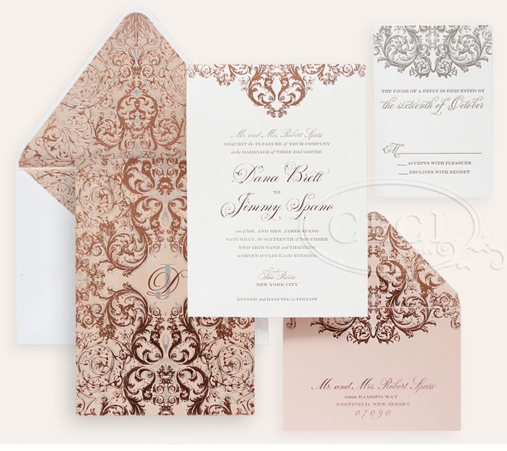 Luxury Wedding Invitations by Ceci New York - Our Muse - Romantic Rose Gold Wedding - Be inspired by Dana & Jimmy's romantic rose gold wedding at the Pierre in NYC - wedding, rose gold, invitation, foil stamping, velvet, pewter, silver, cream, ivory, letterpress printing, custom envelope liner, monogram, luxury invitations