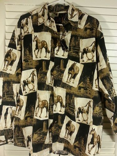 Men's Equestrian Horses shirt Western Cowboy Riding Cotton Large Button #CottonTraders #Western