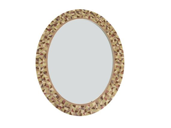 Brown Wall Mirror Oval Mosaic Mirror by GreenStreetMosaics on Etsy