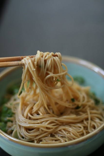 Easy recipe—garlic noodles. Made this. Threw in some peas for some vegetable. Served with sea scallops that were pan fried in the remnant flavor from the noodles. Delicious!
