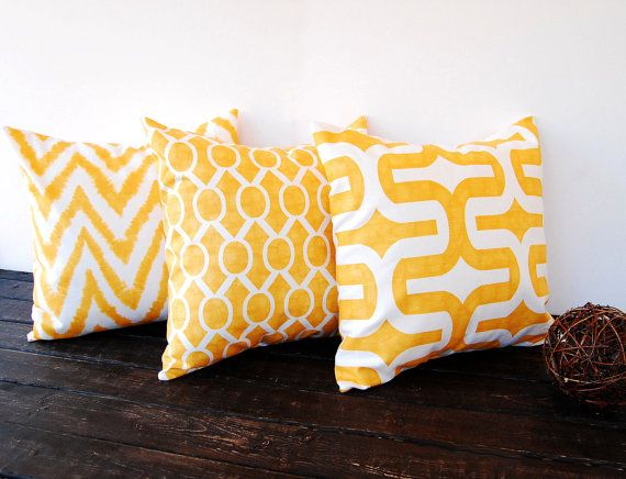Throw pillows yellow set of three 18 x 18 decorative throw pillow covers mustard yellow cushion pillow sham yellow home decor