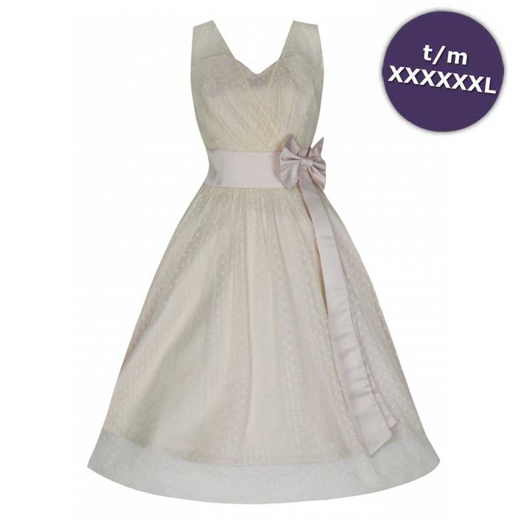 Lindy Bop Ella prom jurk met polkadot stippen en strik almond crème -