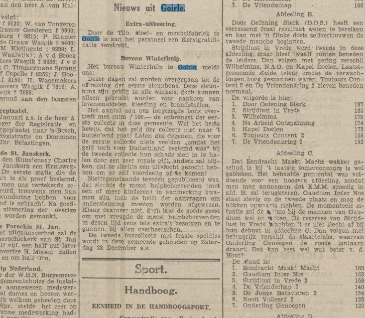 Nieuws uit Goirle. Extra-uitkeering. Krantentitel:Nieuwe Tilburgsche Courant Datum, editie:24-12-1940