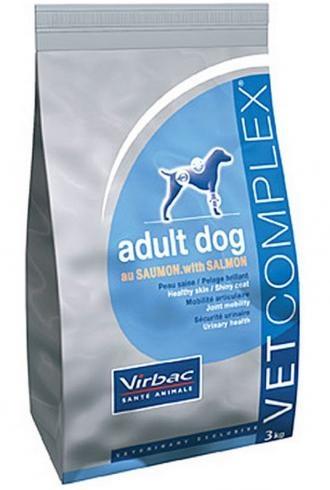 Pienso para perros Virbac Vet complex adult dog salmon. Pienso para perros. Pienso Virbac Vet complex adult dog salmon. Alimento / Comida para perros indicada para perros adultos de todas las razas. Ingrediente principal: Carne de ave. En Petclic ahorras mas de un 35% en todas tus compras de piensos y alimentación para perros Todas las garantías. Toda la seguridad que necesitas y mas de 5.000 productos de alimentación rebajados. www.petclic.es