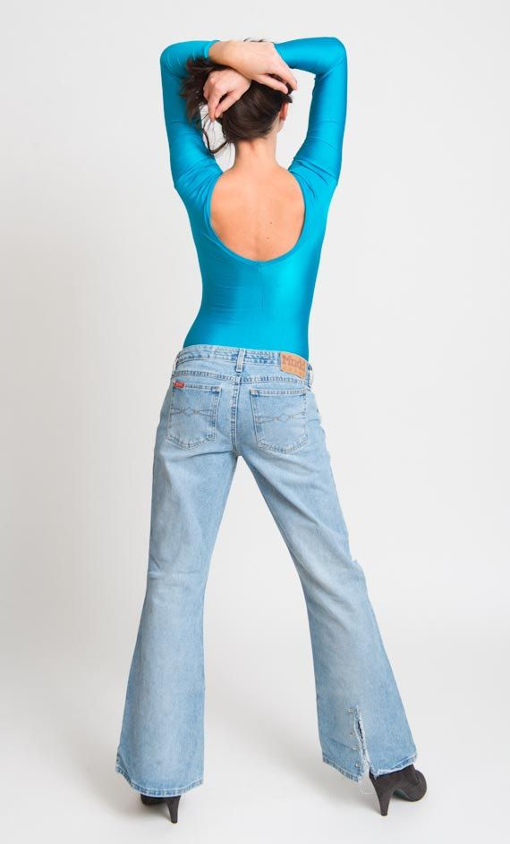 1980's Blue Bodysuit  Vintage 80's Aerobics Low V Neck by mijumaju, $42.00