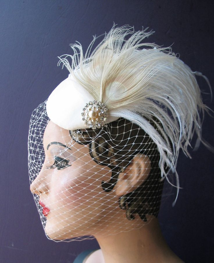 Weddings Ivory Birdcage Veil Bridal Hat White Pea Feather Fascinator Pearl Crystal Center Batcakes Couture