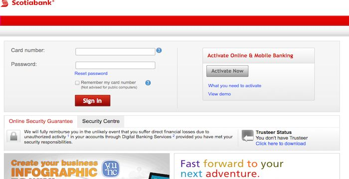 scotia bank sign up for online banking