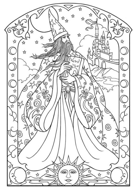 wizard and dragon coloring pages - photo#4