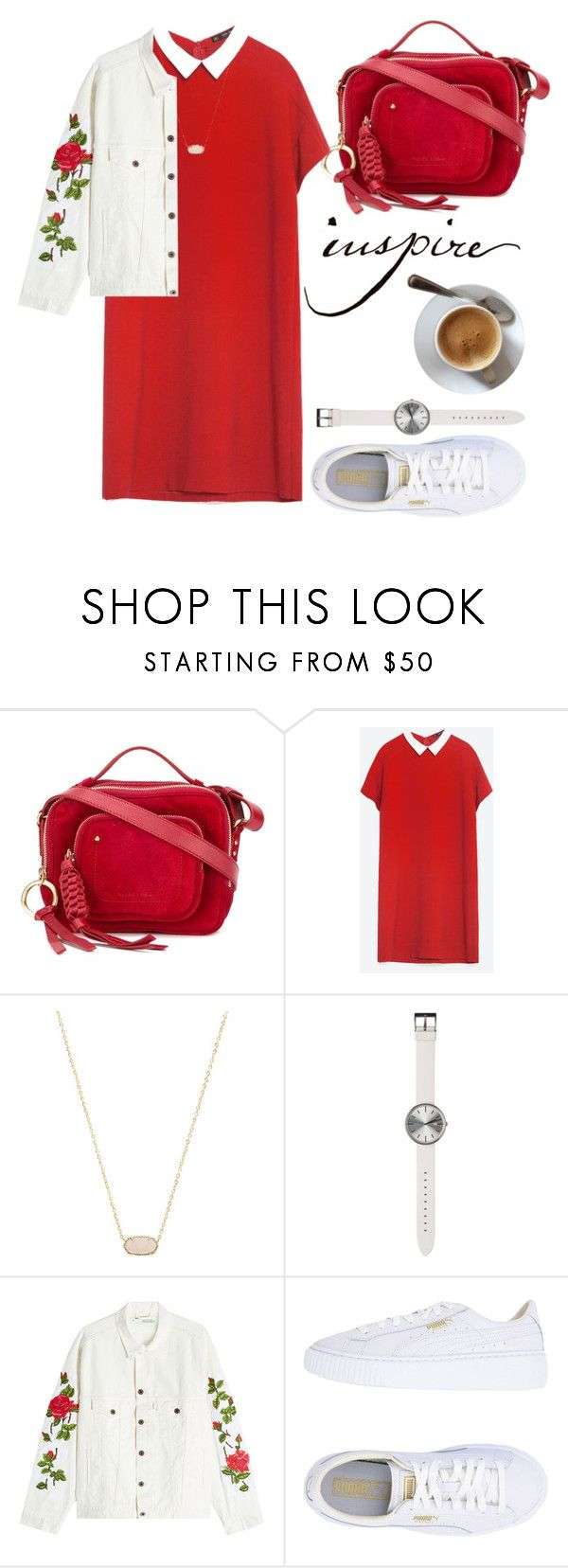 """""""favorite color, red🔥"""" by anncorpse ❤ liked on Polyvore featuring See by Chloé, Zara, Kendra Scott, Uniform Wares, Off-White and Puma"""