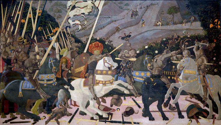 PAOLO UCCELLO (1397-1475) Bitwa pod San Romano, tempera na desce, 182x317 cm, National Gallery