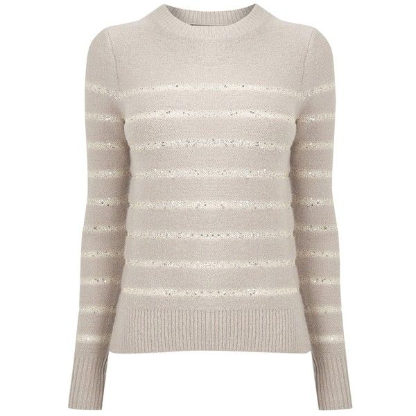 Oasis Sequin Stripe Perfect Crew Neck Jumper , Neutral (€35) ❤ liked on Polyvore featuring tops, sweaters, neutral, striped crew neck sweater, patterned sweaters, pink sweater, long sleeve sweater and lightweight sweaters