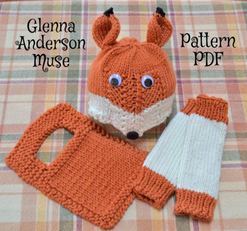 PDF Digital KNITTING PATTERN for adorable Friendly Fox Hat and Leg Warmers, sized Medium Preemie, Large Preemie/Newborn, 6 months, 1 Year, and