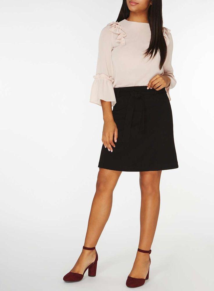 Womens Black Tie Ponte A-line Skirt- Black