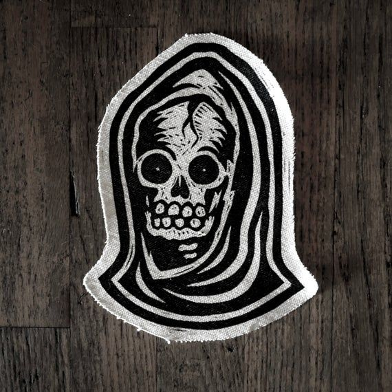 DIY or Die Saying Skull Needle Thread Black Embroidered Iron On Patch