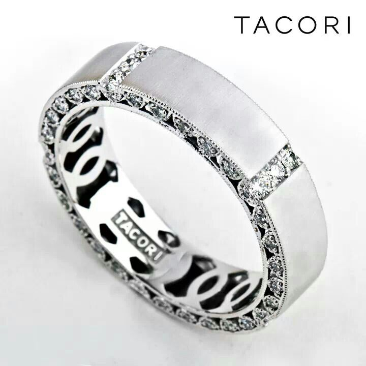 a variation of the tacori gentlemans band with diamonds - Mens Designer Wedding Rings