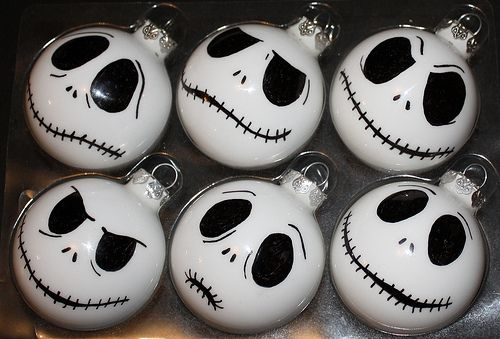 Jack Skellington Ornaments @Morganised Chaos: Technique: Freehand Drawing. Materials: * white acrylic paint * glass bauble * Bic Mark It pens. Add a little water to the white paint until it is the consistency of pouring cream. Pour into the bauble and swirl around to coat the inside fully and then tip upside down and drain. I have a little lab beaker that I use for this, works a treat!