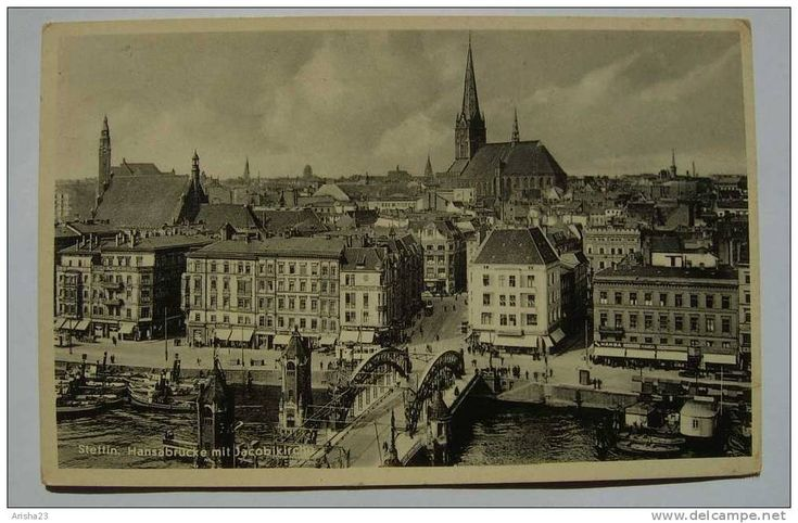 Poland, Stattin 1936 - Hansabrucke mit Jacobikirche - real photo postcard
