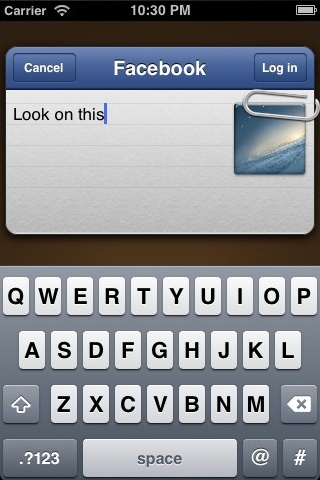 A good looking view to publish an update to Facebook