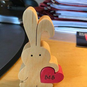 Bunny figurine, wooden bunny stocking filler for baby nephew, rabbit lover gift, Easter gift for kids, Easter bunny love cake topper