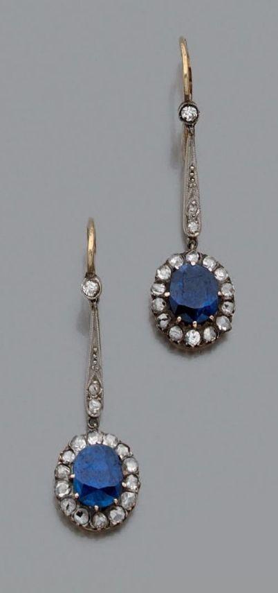 rubies.work/… 0394-sapphire-ring/ Antique sapphire and diamond earings #DiamondEarrings