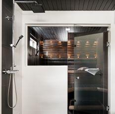 Cello > Tuotteet > Sauna > Ideoita > Lasiseinä tuo avaruutta saunaan