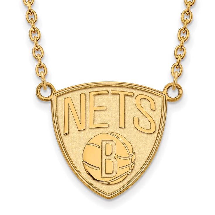 LogoArt 14 Karat Gold Brooklyn Nets Pendant with Necklace