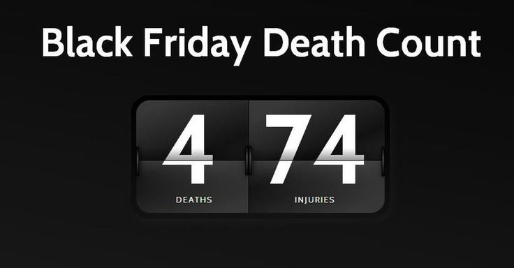 Grim Website Tallies Black Friday Deaths. This death count website serves as a grim reminder of the lengths people go to for a black friday deal.
