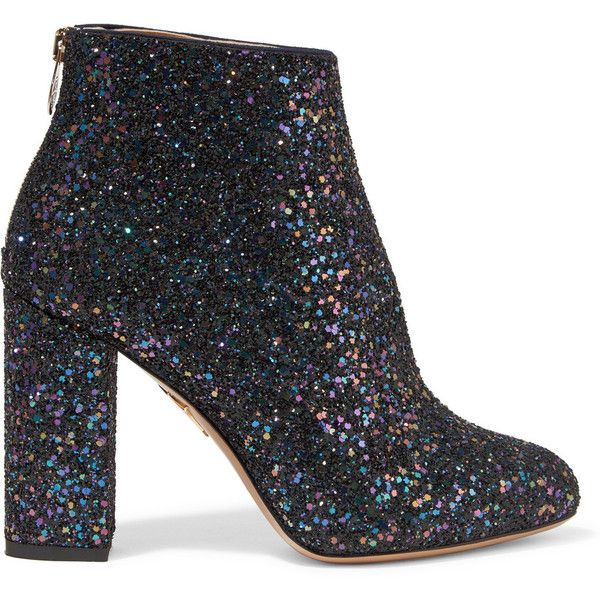 Charlotte Olympia Alba glittered canvas ankle boots (5.810 HRK) ❤ liked on Polyvore featuring shoes, boots, ankle booties, charlotte olympia, purple boots, high heel boots, block heel booties, glitter booties and zipper boots