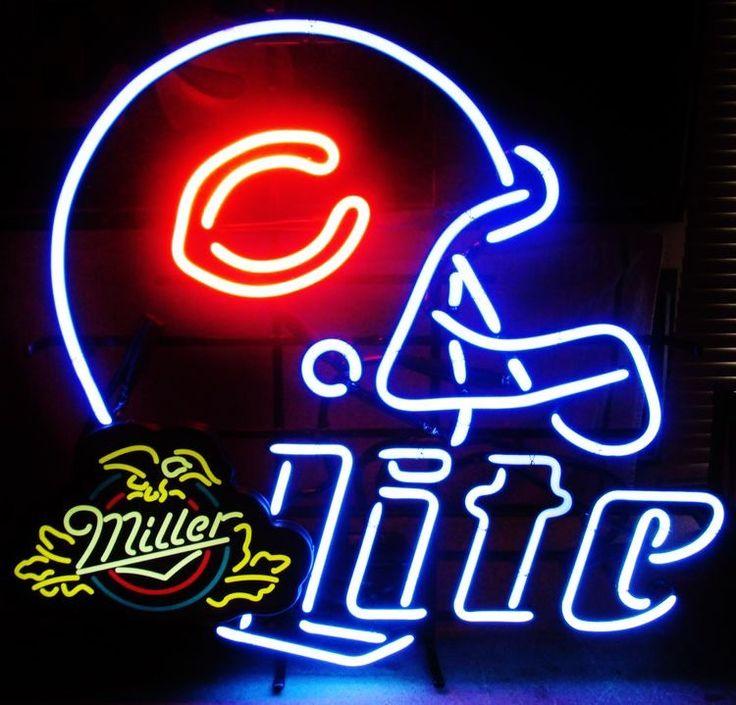 Miller Lite Chicago Bears Helmet Neon Sign NFL Teams Neon Light