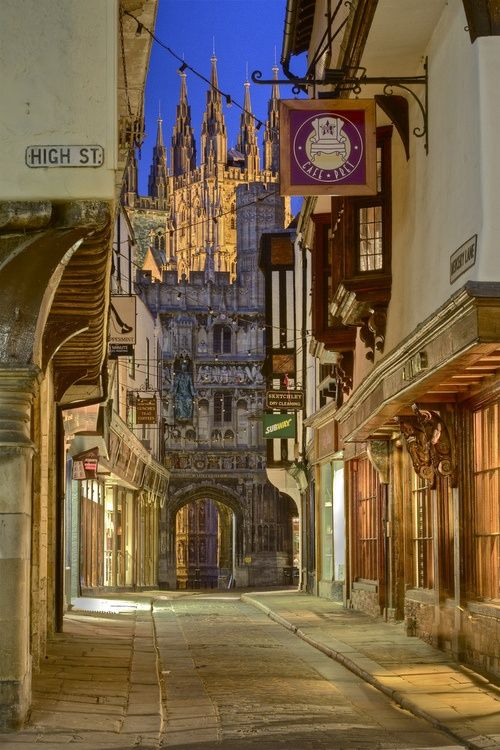 Canterbury   England.  Take a walk along ancient streets and be transported to a bygone time.