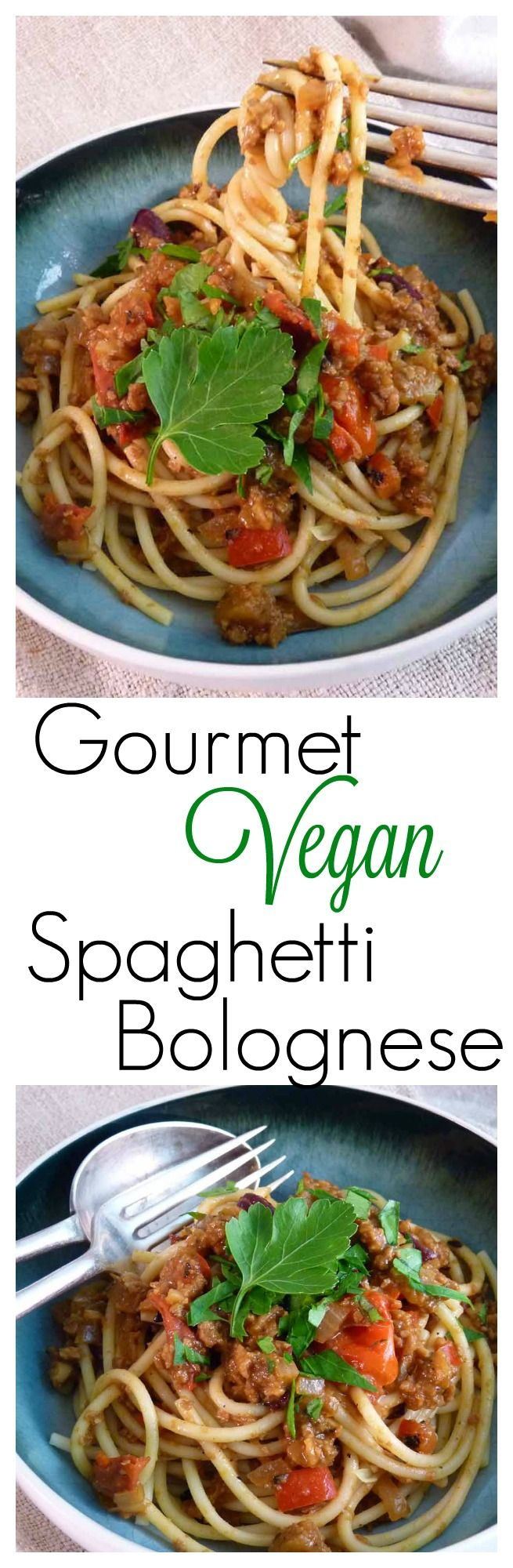 This easy vegan bolognese recipe is a family favourite. With extra veggies snuck in and a rich flavourful sauce.  This recipe will be happily eaten up by veggies and non-veggies alike, making it the perfect quick vegan dinner for everyone!