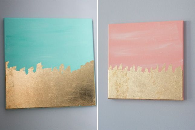 Use paint and gold leaf to DIY this wall art.