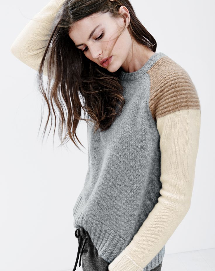 J.Crew women's colorblock cashmere sweater and drapey sweatpant. I want this sweater!