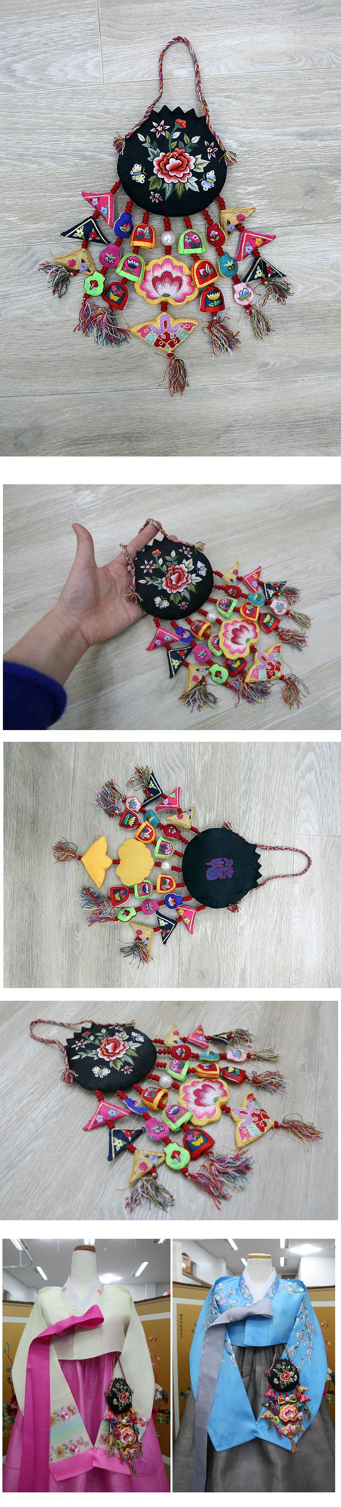 korean traditional ornaments for interioa, hanbok, 1st birthday party table high quality embroidery norigae <3