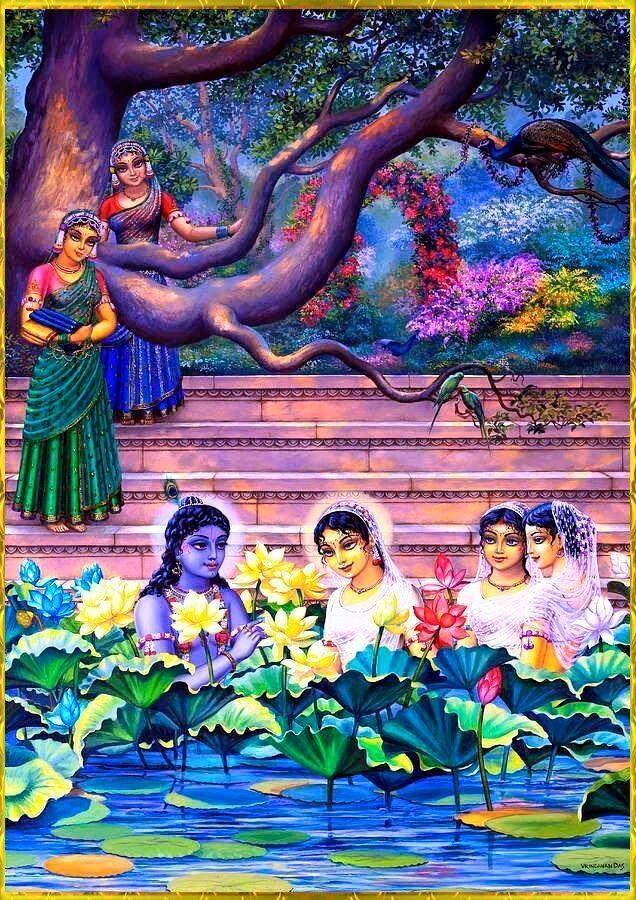 Nitai Gaura Krishna Center Batam Kepulauan Riau Indonesia: Krishna bersama Gopi di Kolam