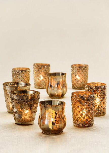 For A Vintage Look: Mercury Glass Votive Holders