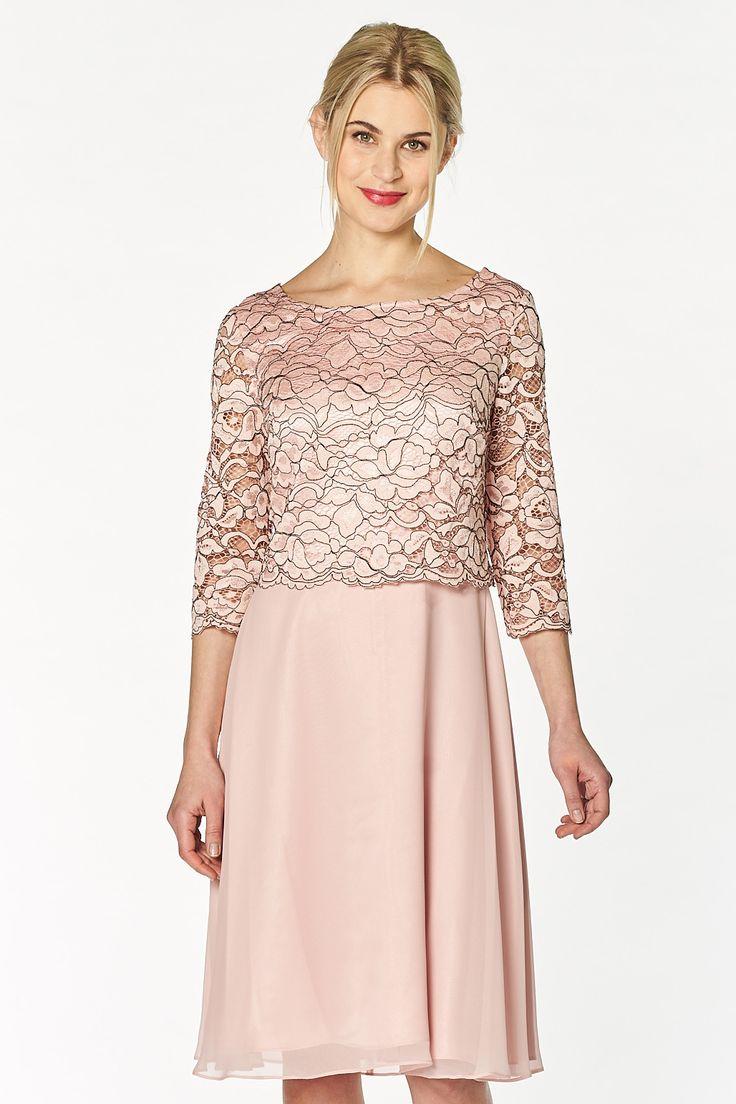 Premium Kleid von Vera Mont tailliert geschnitten Layering Effekt Ärmel in Ellbogen Länge eingenähtes Unterkleid Rundhals Abnäher vorne in Brusthöhe V-Ausschnitt und...