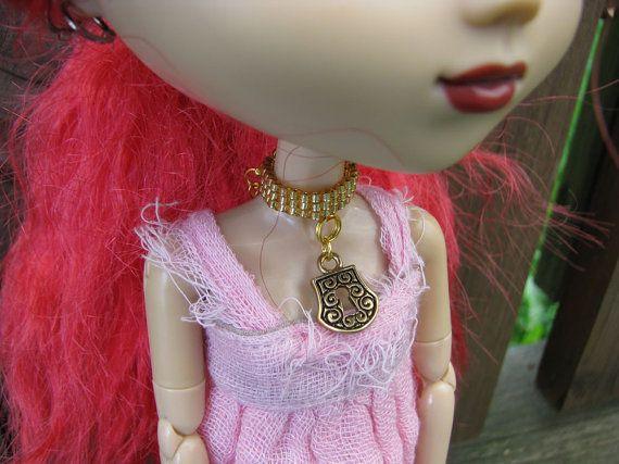 Pullip & Blythe Fashion Doll Choker Necklace A Golden by finasma