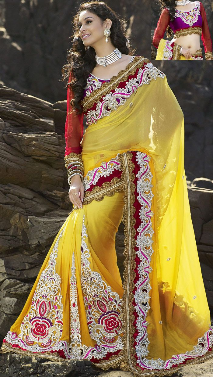 Golden Chiffon #Indian #Wedding #Saree Blouse | @ $213.06 | Shop It Here: http://www.sareegalaxy.com/pages/itemlarge.aspx?itemcode=SHK6O727