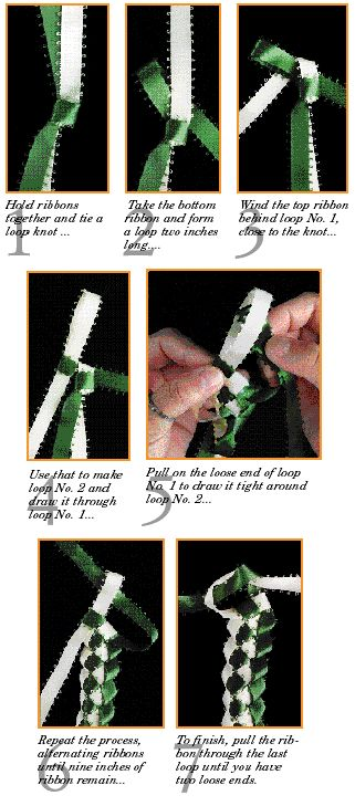 How to make a braided lei using two colors. Hot glue to a plain headband for a new twist on hair fashion.