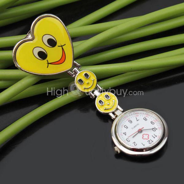 Moda #Reloj de Bolsillo Tipo Enfermera con Clip Forma Corazón Sonrisa Encantadora