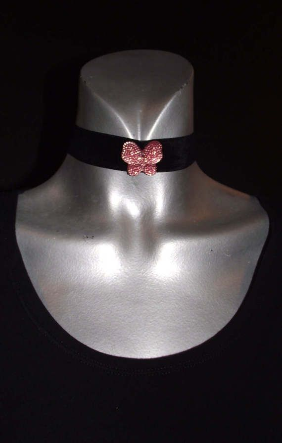 Black velvet choker with pink butterfly by MaryLooGifts on Etsy