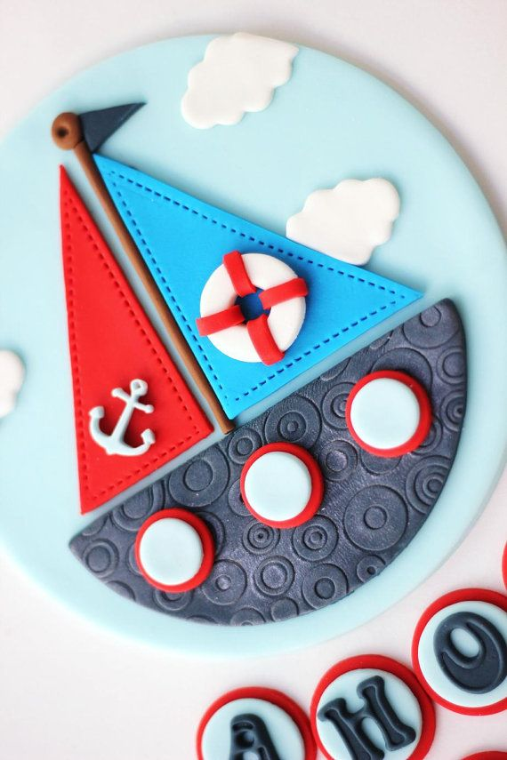 Nautical Fondant Cake Topper Set Sailboat Fondant by LesPopSweets