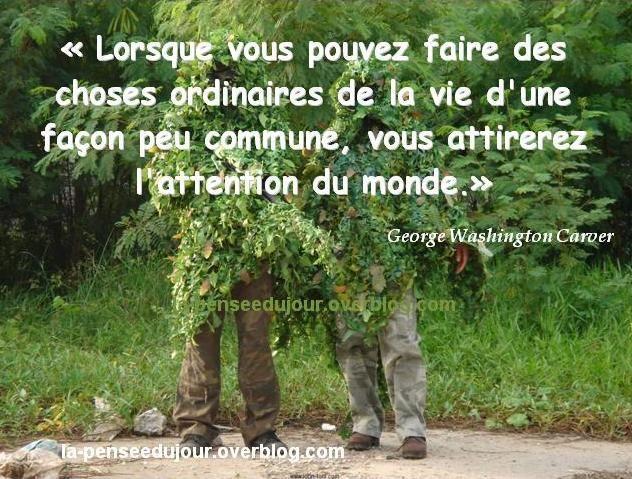 """""""Lorsque vous pouvez faire des choses ordinaires de la vie d'une façon peu commune, vous attirerez l'attention du monde."""" George Washington Carver"""