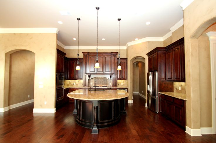 Couto Custom Home Stained and Antiqued Painted Cabinet Finish Sherwin Williams Kilim Beige walls ...