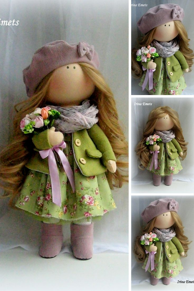 Tilda doll Handmade doll Fabric doll green brown color Soft doll Cloth doll Baby…