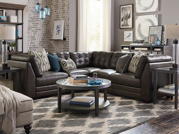 Affinity L-Shaped Leather Sectional by Bassett Furniture features biscuit tufting for comfortable seating.