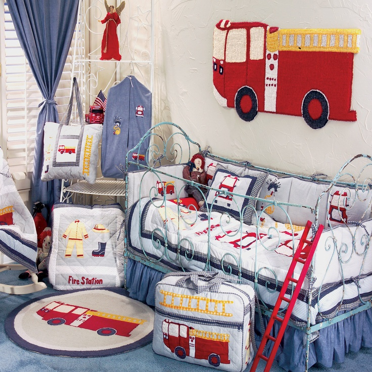 Fire Truck Blue White and Red Fire Engine 6 Piece Crib Set