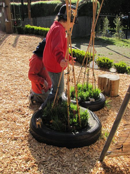 Make a mini garden patch with old tyres